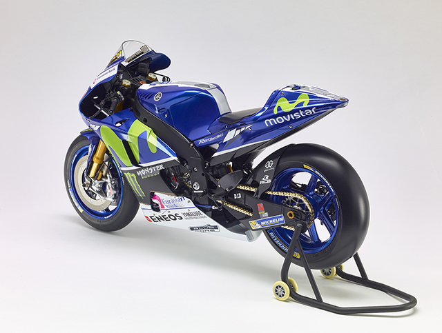 Image of a 1:4 scale model Yamaha YZR-M1 motorbike, for a blog about the Valentino Rossi motogp career.