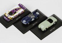 Image of the DeAgostini ModelSpace Jaguar Le Mans diecast model cars, as part of a blog about Jaguar's success at Le Mans.