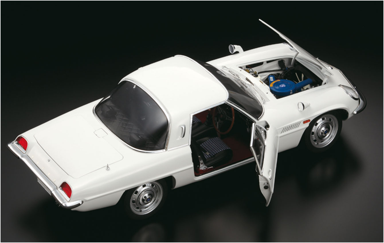 Image of Mazda Cosmo Sport 1:8 scale model car, as part of a blog about the Mazda Cosmo History.