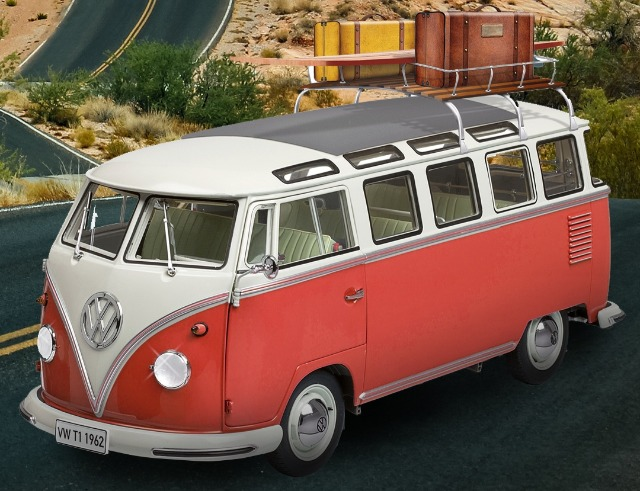 Image of VW T1 Samba Camper Van 1:8 scale model, as part of a blog about building model cars.