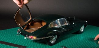 Image of Jaguar E-type 1:8 scale model, as part of a blog about how to make model cars.