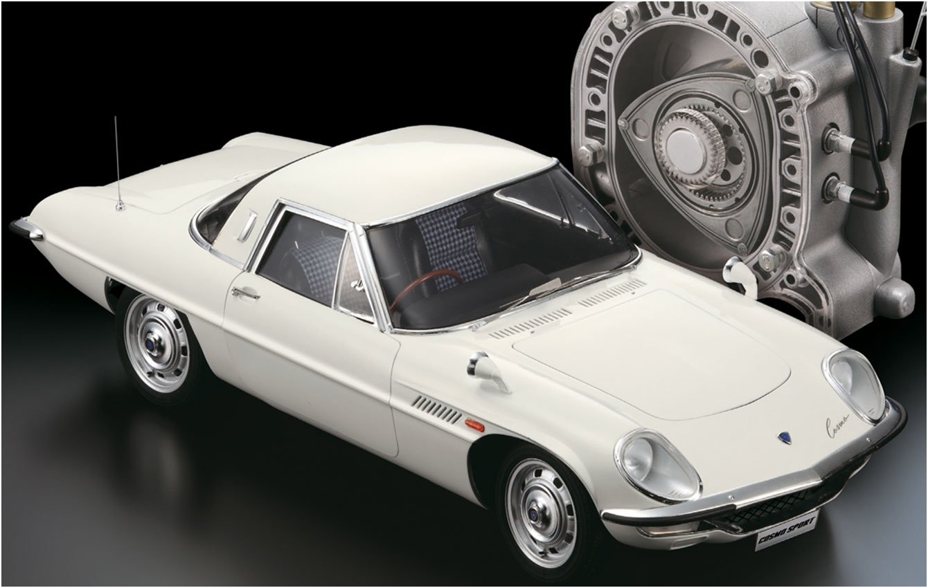 Image of ModelSpace 1:8 scale Mazda Cosmo Sport scale model, as part of a blog about large scale model kits
