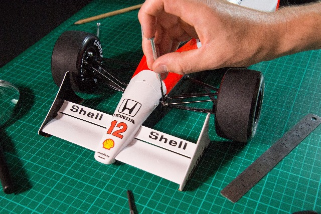 Image of Senna McLaren MP4/4 1:8 scale model, as part of a blog about how to make model cars.