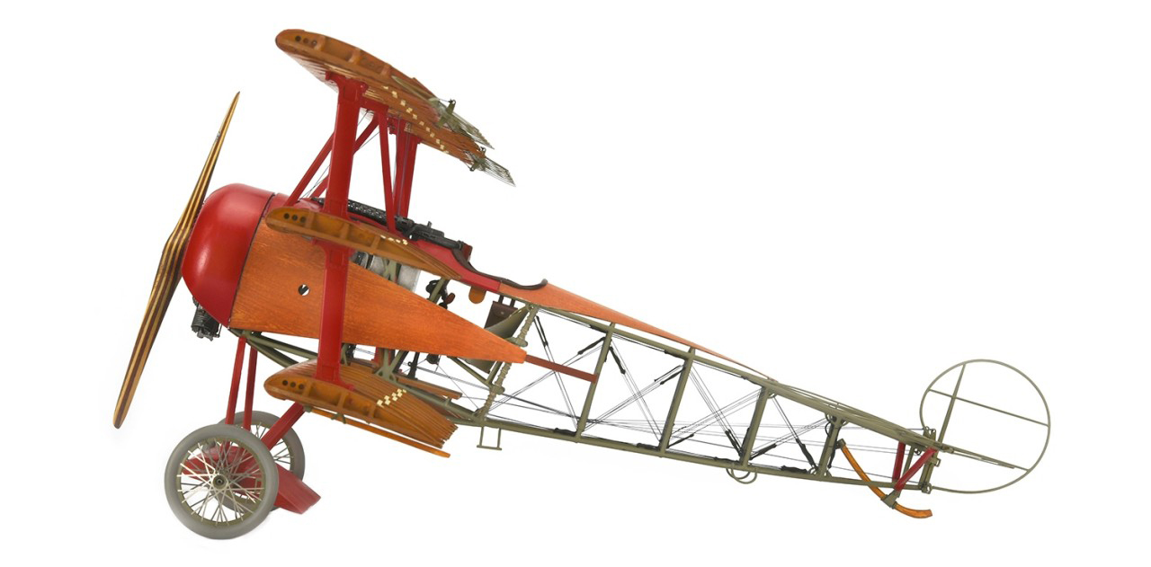 Image of the ModelSpace 1:16 scale Fokker Dr.I Red Baron model plane, as part of a blog about DIY projects and scale modelling.