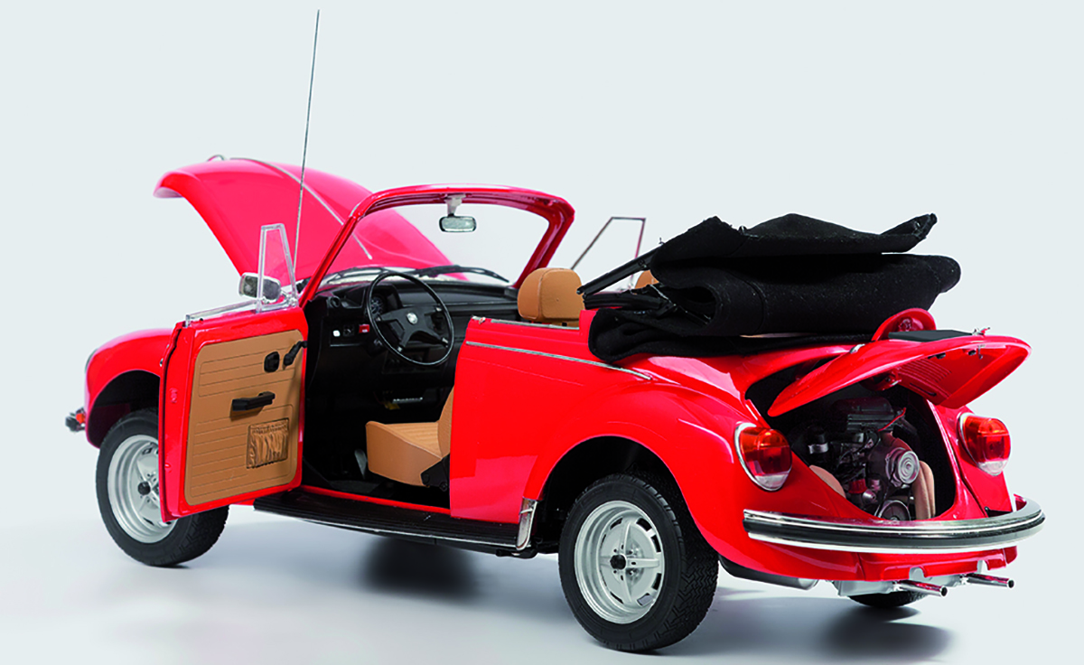 Image of the ModelSpace 1:8 scale VW Beetle Cabriolet model car, as part of a blog about DIY projects and scale modelling.