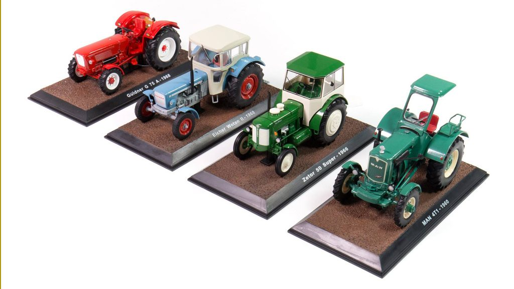 Image of DeAgostini ModelSpace diecast model tractors, as part of a blog about how diecast models are made.