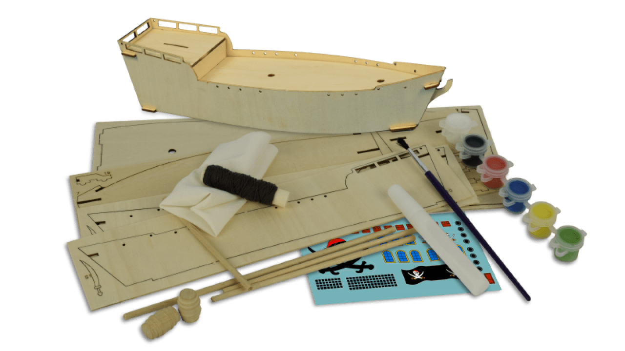 Image of the ModelSpace children's model pirate ship, as part of a blog about indoor activities for families on rainy days