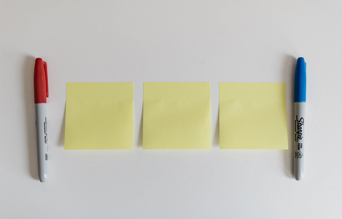 Image of post it notes, as part of a blog about indoor activities for families on rainy days