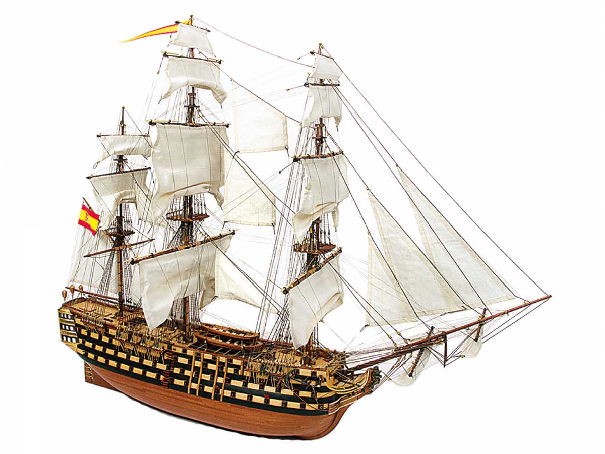 Image of the DeAgostini ModelSpace 1:90 scale Santisima Trinidad model ship, as part of a blog about the original Spanish ship's history.