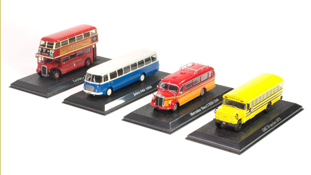 Image of DeAgostini ModelSpace diecast model buses, as part of a blog about how diecast models are made.