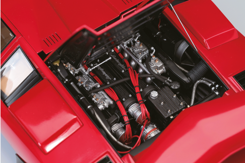 Lamborghini Countach LP 500S Model-The bonnet opens to reveal the engine.